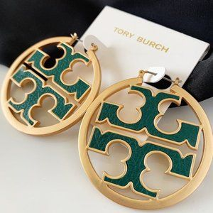Tory Burch logo green leather hoop earrings